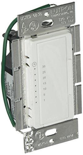 - LUTRON Electronics MA-T530GH-WH Maestro Eco Countdown Timer, 120 V, 5 A, 1-30 Min, White