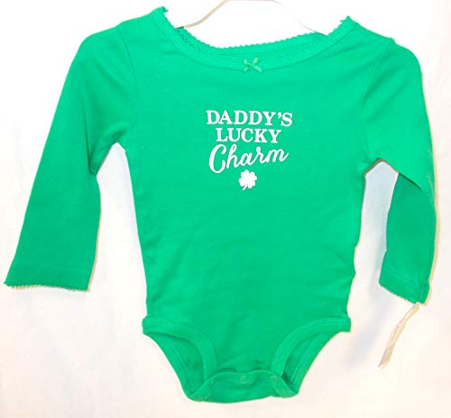 (Carter's Green White Daddy's Lucky Charm One Piece Outfit Child 12M NIP)