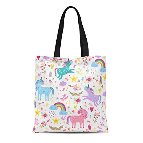 Semtomn Cotton Canvas Tote Bag Blue Pattern Unicorns Pink Rainbow Star Baby Fun Girl Reusable Shoulder Grocery Shopping Bags Handbag Printed - Canvas Flower Girl Tote Bag