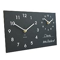 Eco recyclé Double Temps Zone classique horloge murale avec craie