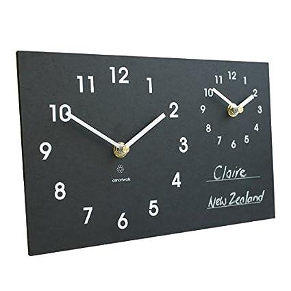 Recicladas doble zona horaria y reloj con pizarra para escribir