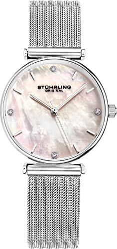 Stuhrling Original Womens Watch Mother of Pearl Analog Watch Dial, Silver Stainless Steel Braided Mesh 3927 Watches for Women Collection ()