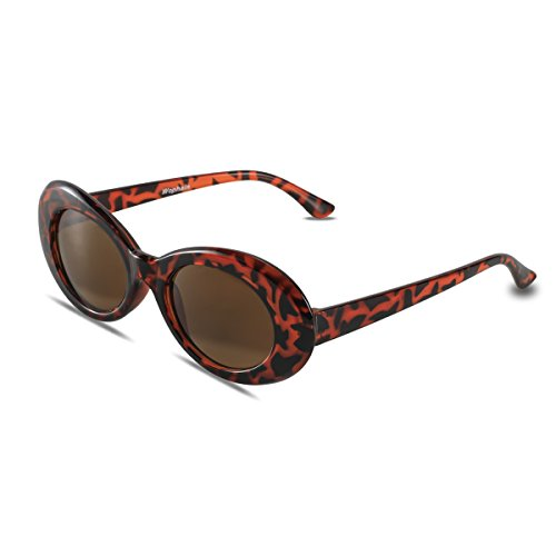 Bold Retro Oval Mod Thick Frame Sunglasses,Wophain Round Lens Clout Goggles Eyewear Supreme Glasses Cool Sunglasses (Leopard) (Leopard Retro)