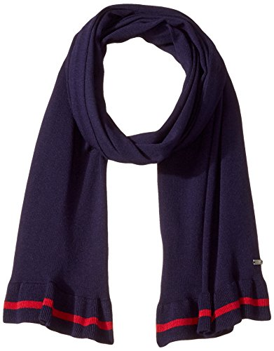 A|X Armani Exchange Women's Viscose Nylon Scarf with Single Stripe Trim, evening blue, One Size
