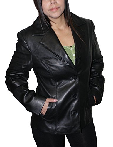 Women genuine soft lamb leather 4 buttons closure fitted leather blazer Jacket_Medium