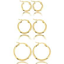 MOWOM Silver Gold Two Tone Stainless Steel Hoop Huggie Earrings Classic Charm ( 3 Pairs )