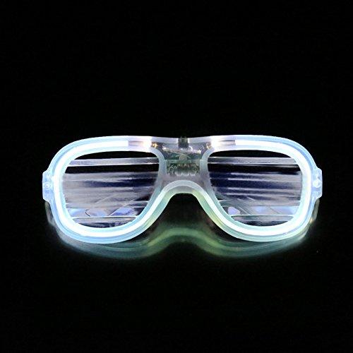 3d Glasses Costume - Light Up Costumes Eyeglasses LED Neon Shutter Glasses for Party White
