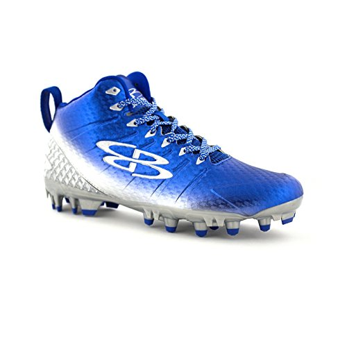 Boombah Mens Gunner Molded Mid Football Cleats - 12 Color Options - Multiple Sizes Royal/Silver V6q3kkRwT1