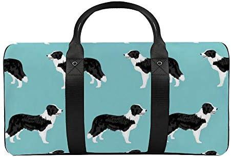 ボーダーコリーシンプルブルー1 旅行バッグナイロンハンドバッグ大容量軽量多機能荷物ポーチフィットネスバッグユニセックス旅行ビジネス通勤旅行スーツケースポーチ収納バッグ
