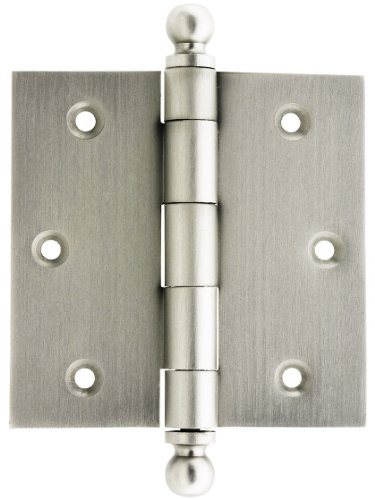 House of Antique Hardware W-04HH-220-SN Solid Brass Door Hinge with Ball Finials, 3 1/2