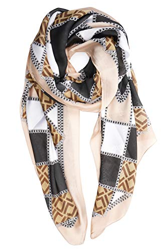 - YOUR SMILE Ladies/Women's Lightweight Floral Print/Solid Color mixture Shawl Scarf For Spring Summer season (Black Brown/Checker)