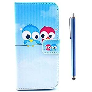 LZX Lovely Owl Pattern PU Leather Cover and Capacitance Pen with Stand for iPhone 6