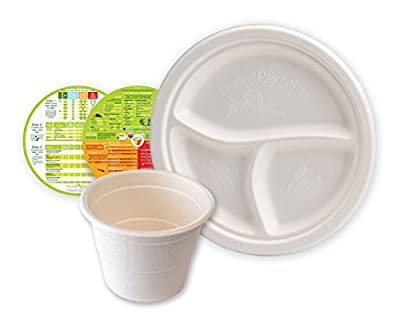 "Portion Control Compostable Eco Plates - 9"" 3 Section Plates & 10oz Cups Combo (Set of 50 ea.) - A Perfect Picnic Combo for Diet & Diabetes"
