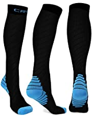 Compression Socks Men Women Stockings , 20-30mmhg Knee High Thick Black Sports Running Sock - Support Hose Circulation Recovery , Relief Calves Foot Pain for Athletic Pregnancy Travel Nursing Flying