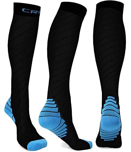 Mens Compression Socks Men Running Compression Stockings Support Hose Relief Thick Sock for Calves Pregnancy Maternity Circulation Women for Travel Nurses Nursing Work Flying 20-30mmhg Knee High