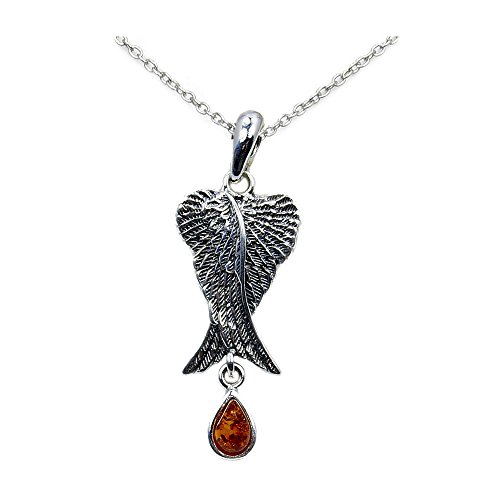 Angel Wing Necklace Amber Necklace Sterling Silver Natural Baltic Amber Angel Wings Pendant Necklace