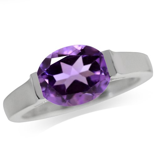 2.35ct. Natural African Amethyst White Gold Plated 925 Sterling Silver Solitaire Ring Size 5