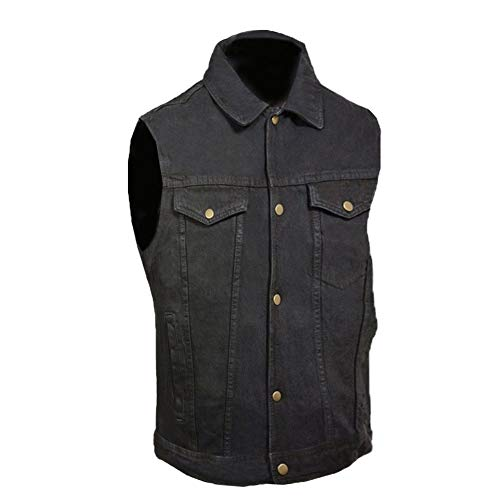 Men's Denim Motorcycle Biker Club Style Vest Concealed Inside Gun Pockets Jacket Black Medium