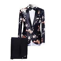 Mens Suits One Button Floral Blazer 2-Pi...