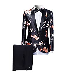 Mens Suits One Button Floral Blazer 2-Piece Wedding Suits Jacket and Pants
