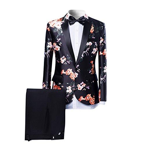 Mens Suits One Button Floral Blazer 2-Piece Wedding Suits Jacket and Pants Orange Flower -