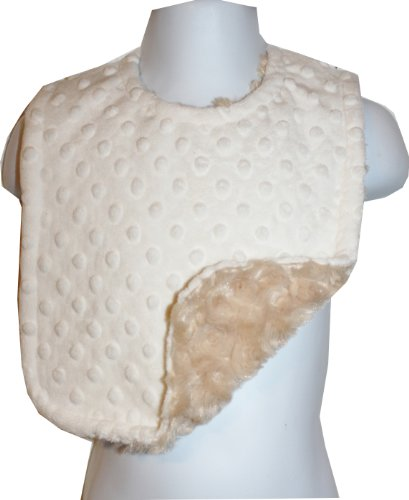 Lil' Cub Hub Adjustable & Reversible Minky Bib, Cream Dot/Camel Rosebud (Cream Bib)