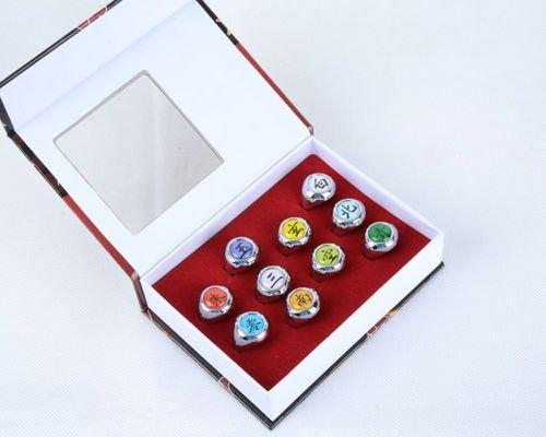 10 Pcs Naruto Rings NARUTO Akatsuki Cosplay Member's Ring Set New In Box