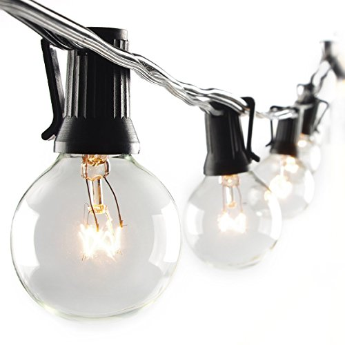 escolite outdoor string light with g40 clear globe bulbs ul listed 25 feet black buy. Black Bedroom Furniture Sets. Home Design Ideas