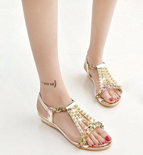 ... Sommer offener Spitze Diamant flach mit flachen Sandalen Freizeitschuh  gold