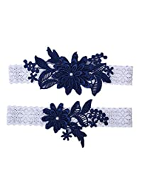 Ealafee Women's Sexy Lace Wedding Garters for Bride Pearls Prom Party Garter Set