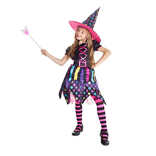Morph Costumes Girls Magical Witch Halloween Costume, Small (43-48 Ins/110cm-122cm) - Colourful Fancy Dress Costumes