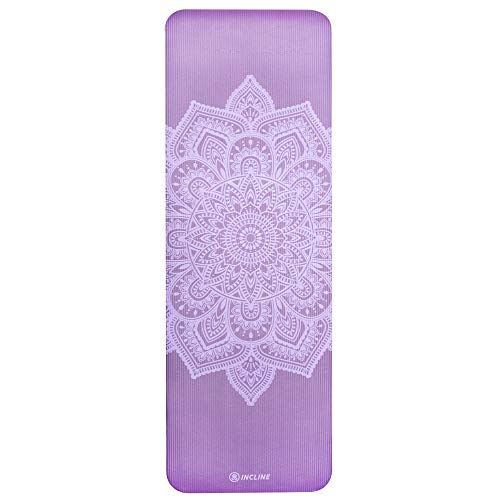 """Incline Fit High Density Extra Thick & Long Comfort Foam Exercise Yoga Mat for Pilates, Fitness & Workout with Carrying Strap, 72"""" x 24"""" x 1/2"""", Violet Mandala"""