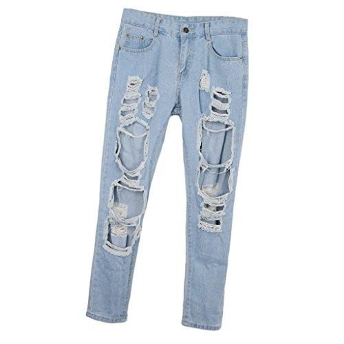 Cintura Transpirables Ancha Ropa Rasgados Casual Vaqueros Jeans Azul Denim Media Mujeres P Prettyia TAgxaU