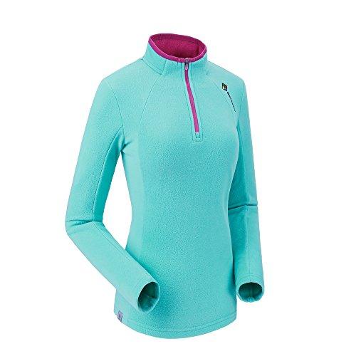 Camel Women Fashion Fleece Sweatshirt Pullover Jacket Lightweight Sweater Shirt Outdoor Long Sleeve Jacket With Zip Blue M - Long Sleeve Polar Fleece Top