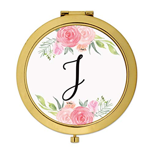 Andaz Press Compact Mirror Bridesmaid's Wedding Gift, Gold, Monogram Letter J, Peach and Pink Roses, 1-Pack, Bachelorette Bridal Shower Wedding Party Gifts