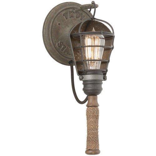 (USA Warehouse) Troy Lighting B4171 Rusty Galvanized Yardhouse 1 Light Wrought Iron Wall Sconce -/PT# HF983-1754400692