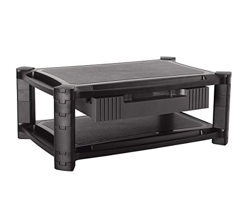 ProHT 2-Level Extra Wide Height-Adjustable Monitor Laptop Stand (05469A) with Removable Drawer, Computer Printer Stand Riser, Max Load of each Layer:22 Lbs ,19.69x12.99x7.56 inch,Black