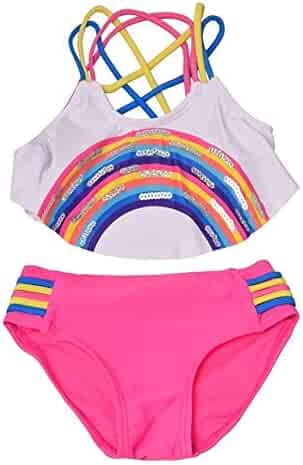 3ca4291b51 Big Girls Fuchsia White Rainbow Detail Strappy 2 Pc Bikini Swimsuit 7-14