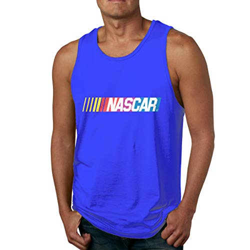 - ugyly Men's NASCAR - Logo Basic Shirts Summer T Shirt Sleeveless T-Shirt Round Neck Cotton Sport Tank Tops Blue 32