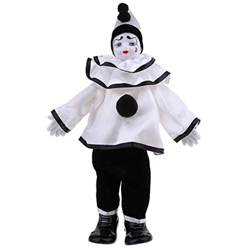 (Fenteer 38cm/15inch Funny Clown Porcelain Doll Halloween Decoration Ornaments Home Table Top Decoration)