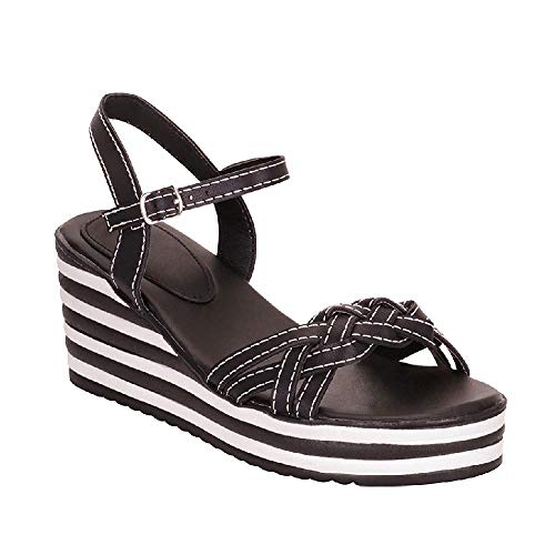 TheRightPair Women's Tribal Woven Open Toe Ankle Strap Buckle Platform Wedge Sandals Summer Heeled Shoes Tp04 Black - Sandals Strap Ankle Woven