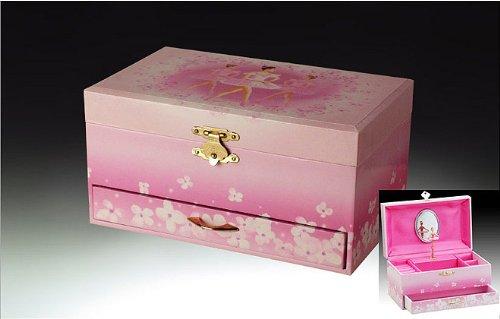 Bailarina de regalos Broadway, caja de música, rosa, 7.5 x4.5x3.75