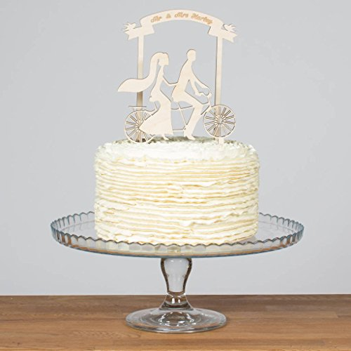 (Avery Carey Bride and Groom Tandem Bicycle and Banner Topper Personalised Wooden Wedding Cake Decoration Mr and Mrs Bike Cake)