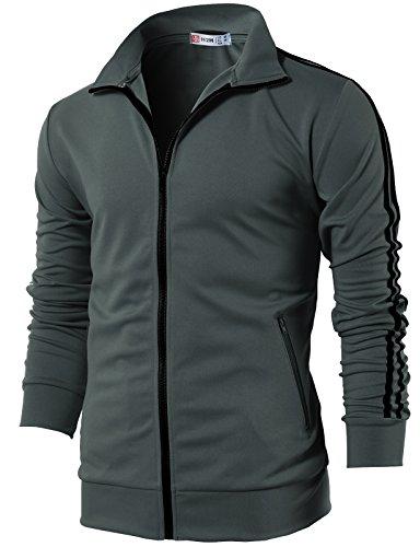 (H2H Mens Fashion Slim Fit Lightweight Line Training Full Zip-up Jacket Charcoal US XL/Asia 2XL (CMOJA0103))