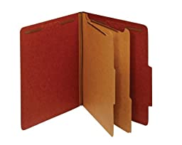 Globe-Weis/Pendaflex 100% Recycled Classification Folders, 2/5 Cut Tab, 2 Dividers, 2-Inch Embedded Fasteners, Letter Size, Red, 10 Folders Per Box (24075R)