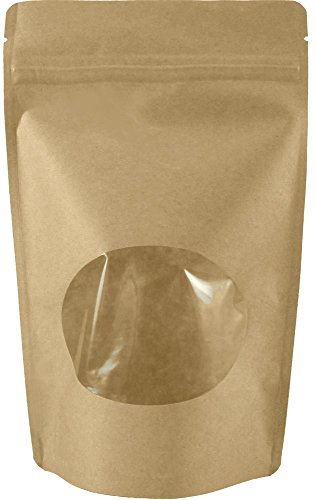 USPak Natural Kraft Stand up Pouches with Window and Zip Lock Food Storage Bag, Pack of 25 (Medium - 8 oz) (Pouch Sealer compare prices)