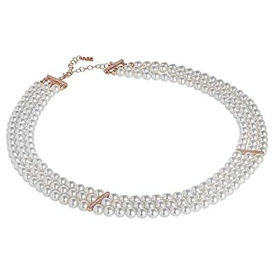 Boccadamo Mehrsträngige Halskette aus Swarovski-Perlen mit Einsätzen aus  Rosésilber und Zirkonen 8482a126a5