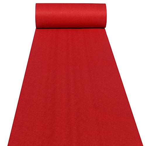 Aisle Runners Wedding Accessories 2mm Red Aisle Runner Carpet Rugs for Step and Repeat Display, Ceremony Parties and Events Indoor or Outdoor Decoration 40 Inch Wide x 30 feet Long]()