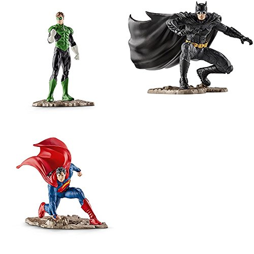 Schleich 3 Pc. Action Figure Set - Green Lantern, Kneeling Batman, and Kneeling Superman