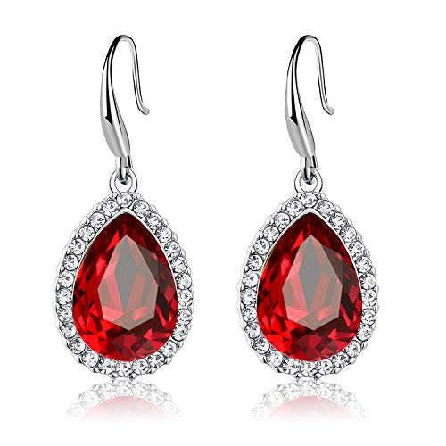 - Swarovski Crystal Teardrop Dangle Drop Earrings for Women Girls 14K Gold Plated Hypoallergenic Jewelry (Red)